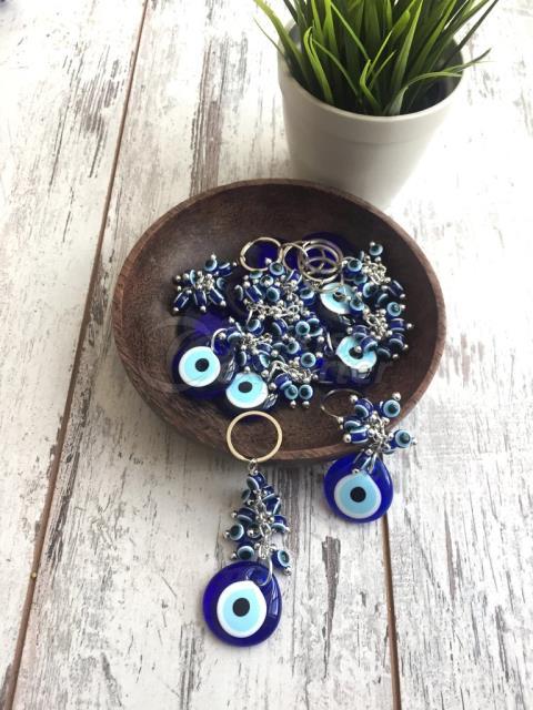 Set of 5 Evil Eye Keychain Set with Blue Evil Eye Beads