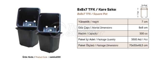 Pot carré 8x8x7