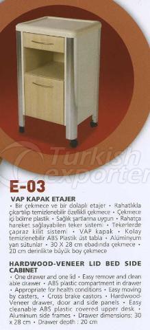 Hardwood Veneer Lid Bed Side Cabinet E-03