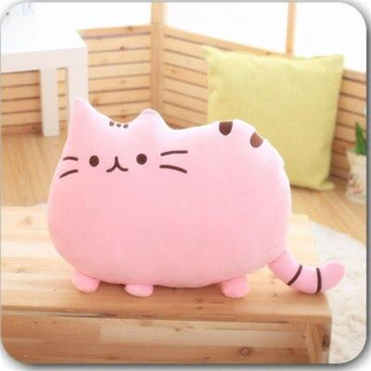 Chubby pink cat pillow