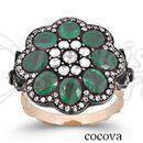 925 Silver Gold 9k 6kt 4 k 8kt Antique Flower Jewelry Handmade Turkish Ottoman Fashion Ring Necklace