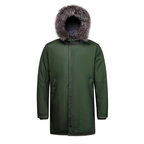 Men Down Hooded Long Coat with Fox Fur on Hood