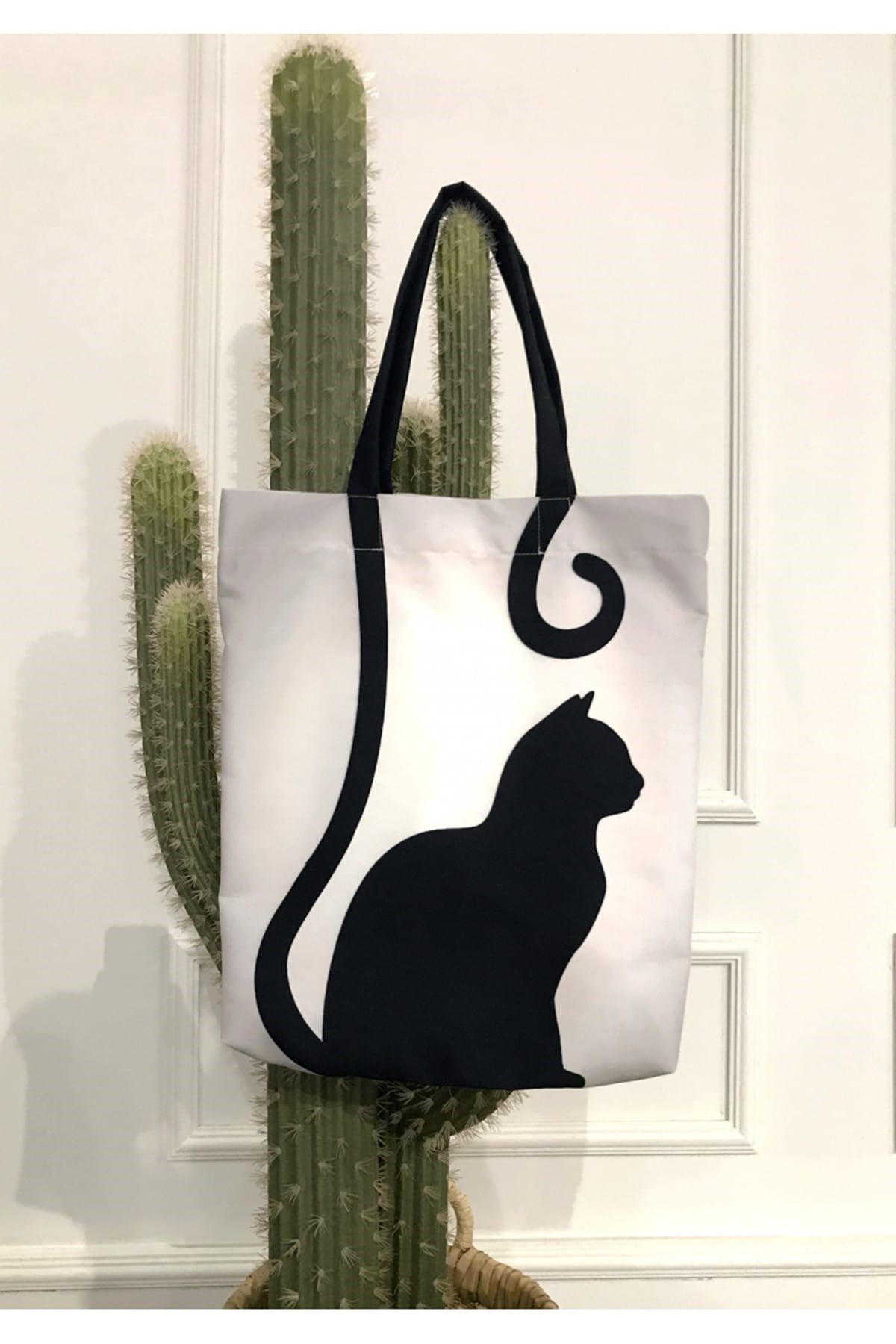 cat print beach bag