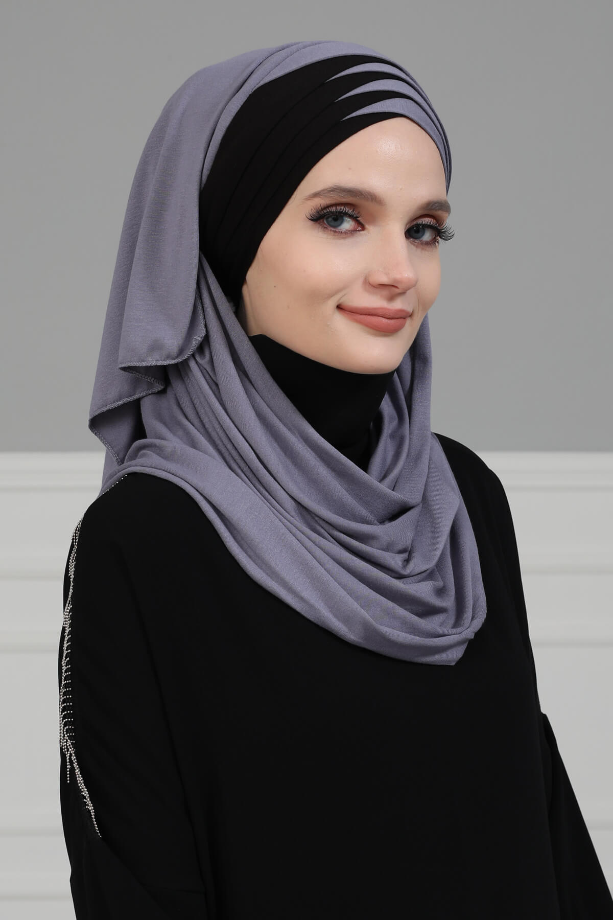 شال قطني ملون فوري للنساء غطاء رأس من القطن وشاح فوري بغطاء عمامة متواضع