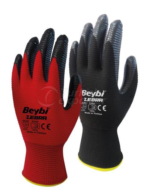 Nitrile Coated Knitted Gloves Zebra