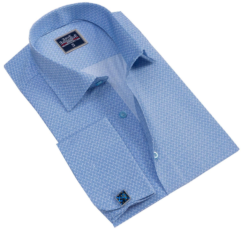 Blue Printed French Cuffs Men Shirt