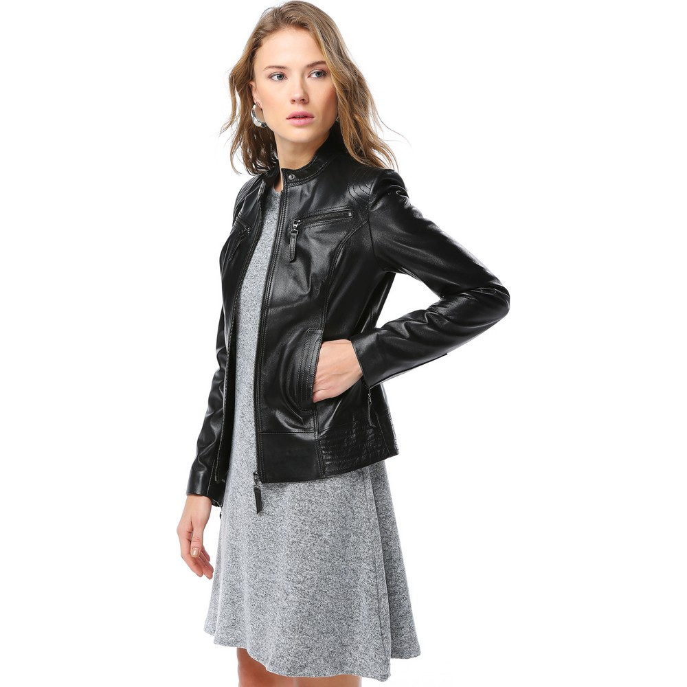 Ladies' Leather Jackets OEM with Private Labelling