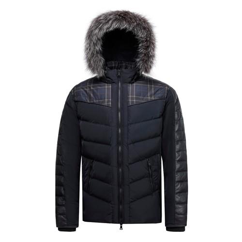 Men Duck Down Coat with Real Fox Fur on Hood