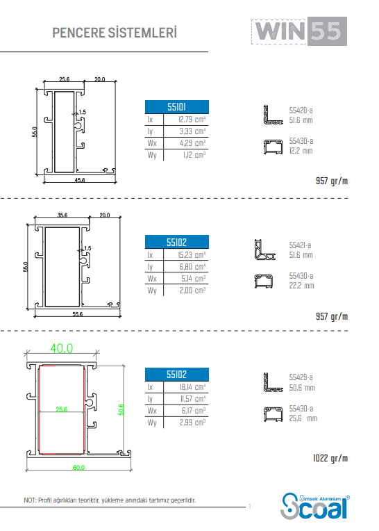 Heat Uninsulated Window Systems WIN 55