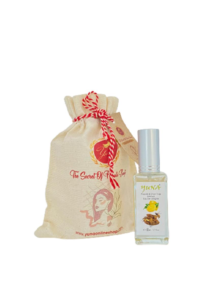 Yuna Propolis& Lemon Oil Cologne 80 Degree Glass Bottle Spray Cap  50cc PL50ML
