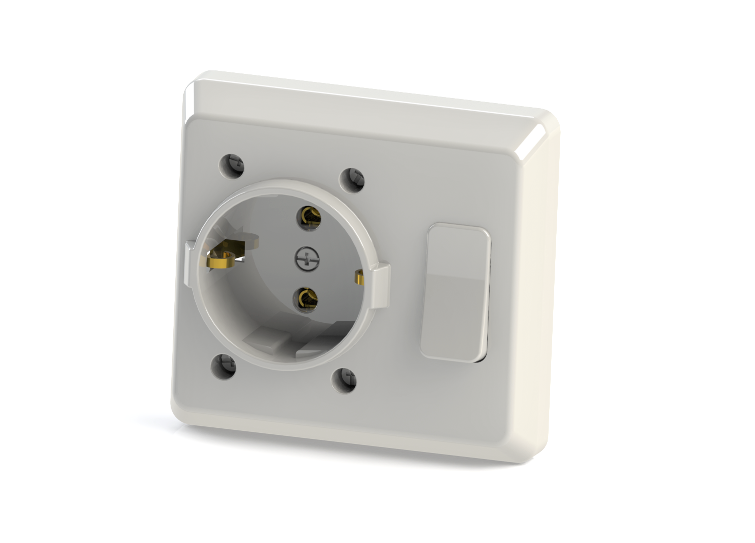 Flush Mounted Earthed Switch + Socket / 1001-A