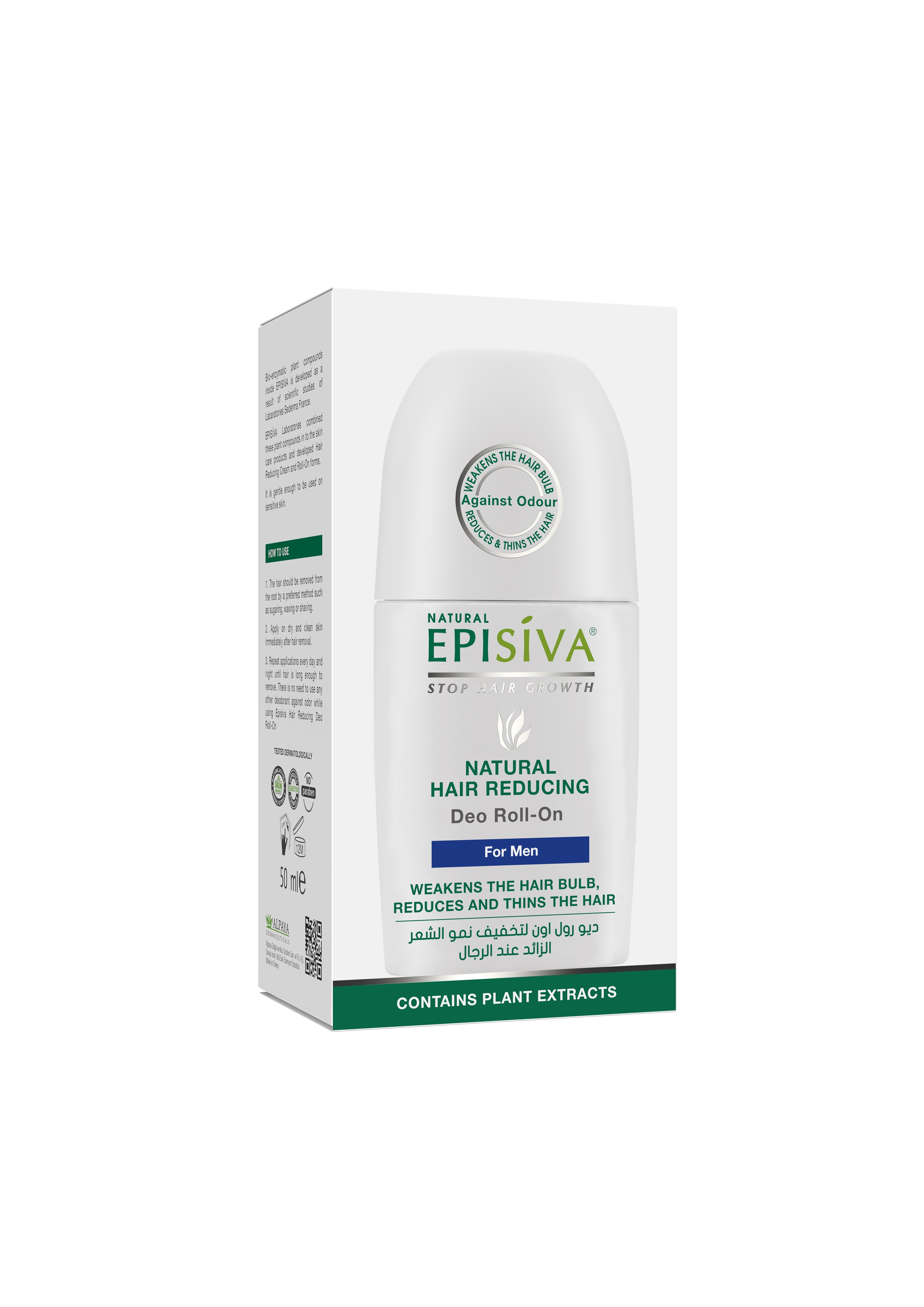 EPISIVA NATURAL HAIR REDUCING DEO ROLL-ON 50 ML FOR MEN
