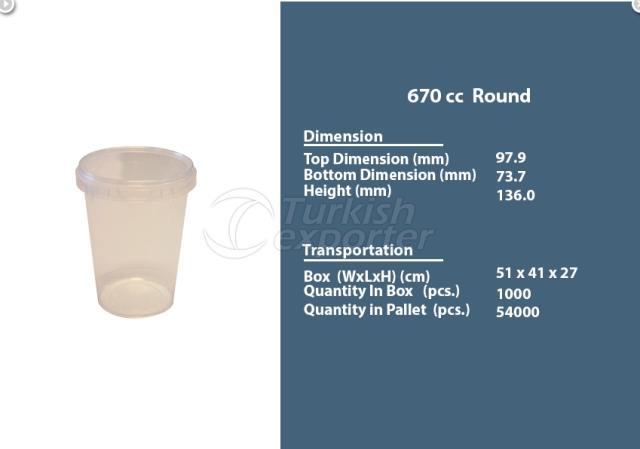 Round Plastic Container 670 cc