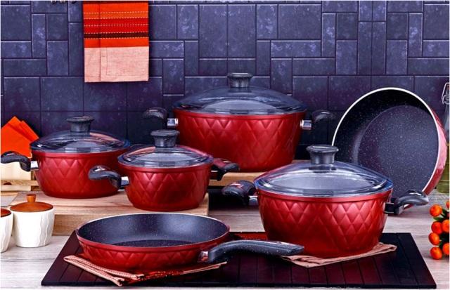 10 Pieces Grid Series Granite Coating Cookware Set