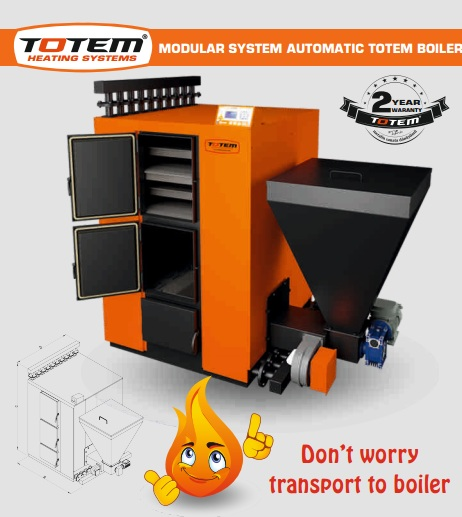 Modular system automatic loading totem boiler.