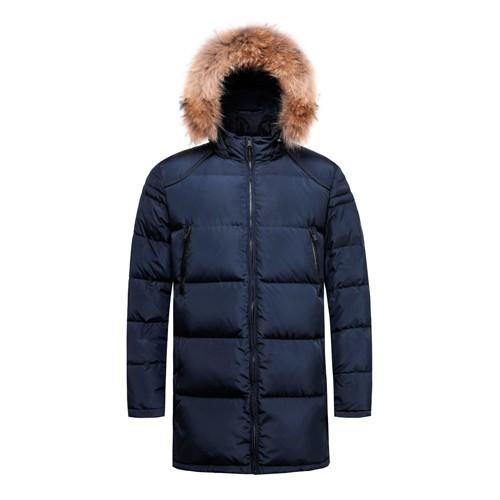 Men Warm Down Long Hooded Coat