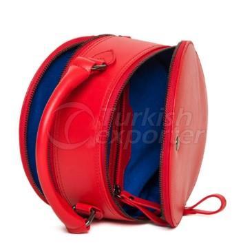 Round Red Handbag with Zipper Ovi Fellow