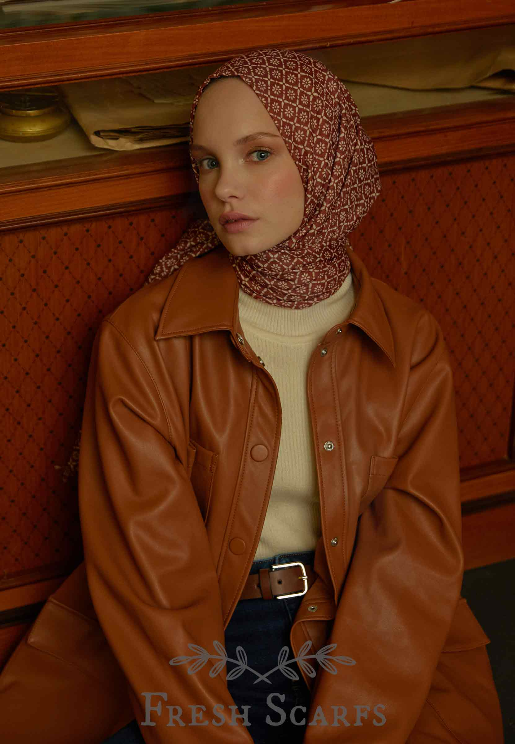 daisy pattern shawl burgundy