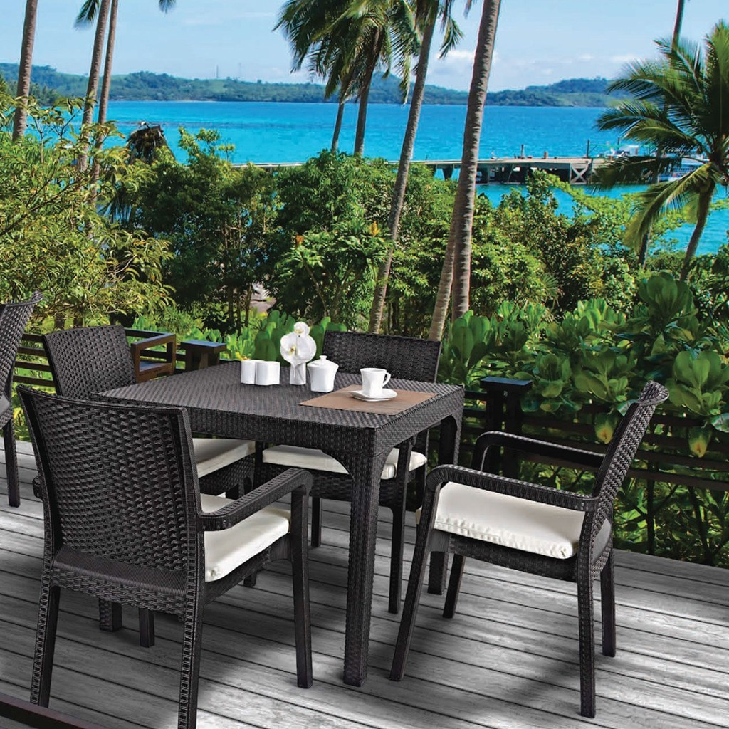 Rattan Plastic Seating Group (90X150 Glass Table + 6 Rattan Armchair) Rattan Coffee Table