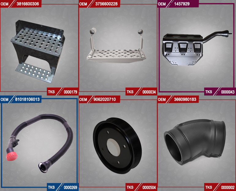 TRUCK SPARE PARTS (FOOTSTEP, PULLEYS,HOSES...)