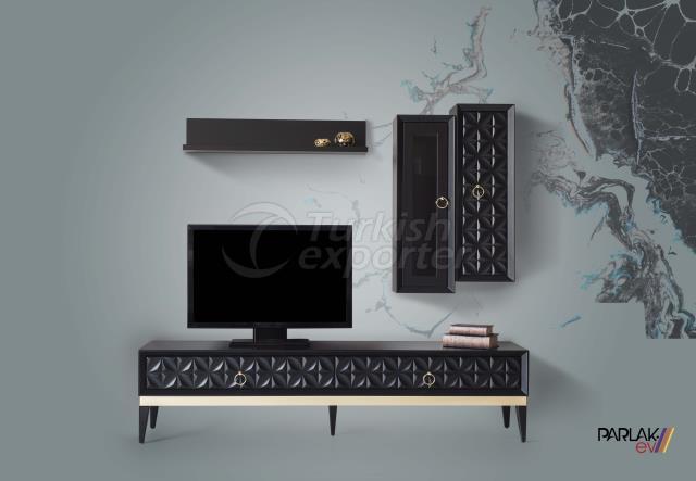 Gold Black Tv Unit