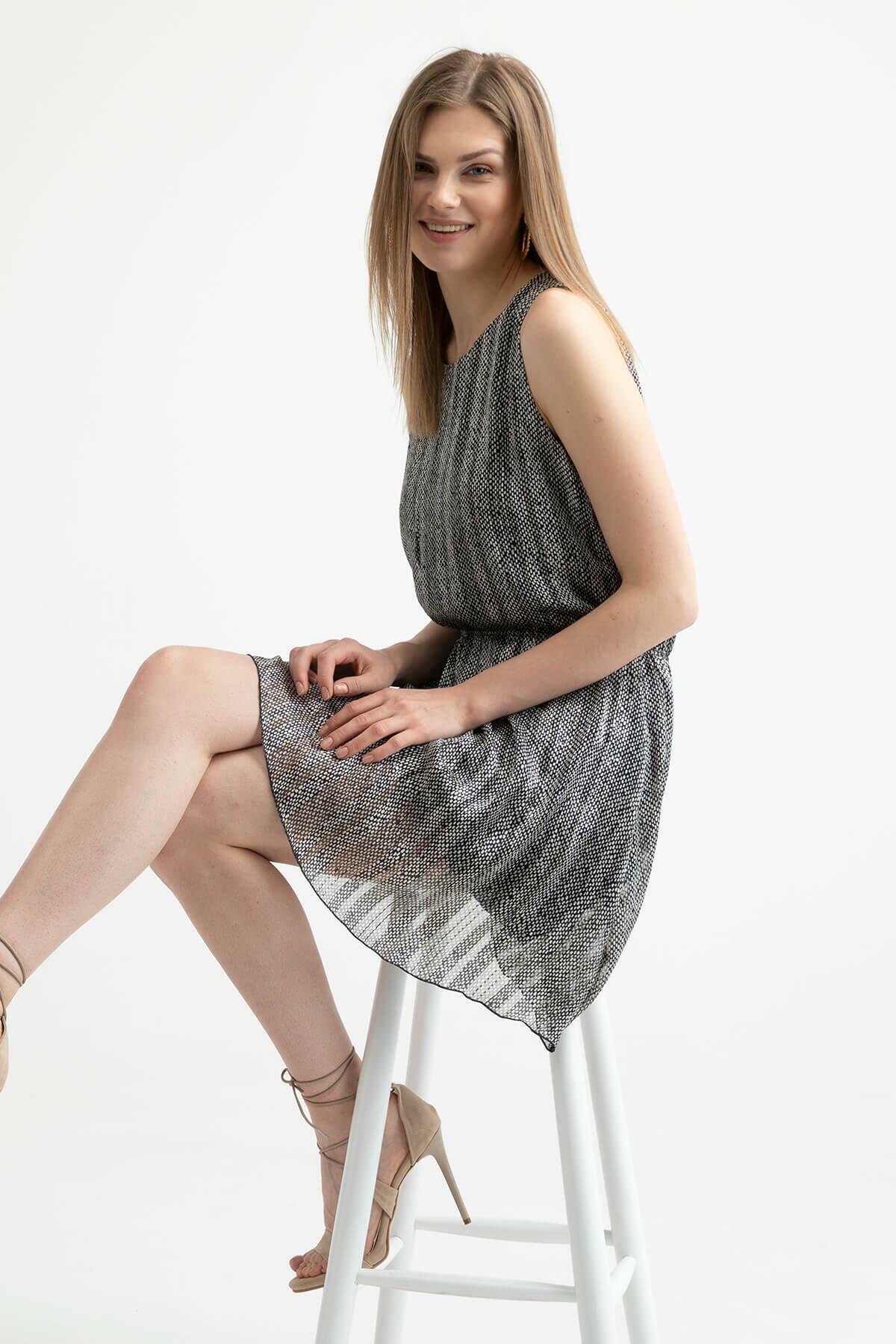 Elastic Waist Patterned Dress