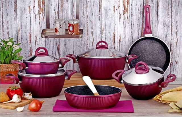 10 Pieces Oyster Series Granite Coating Cookware Set