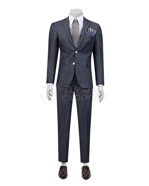 Patterned Dark Blue Suit