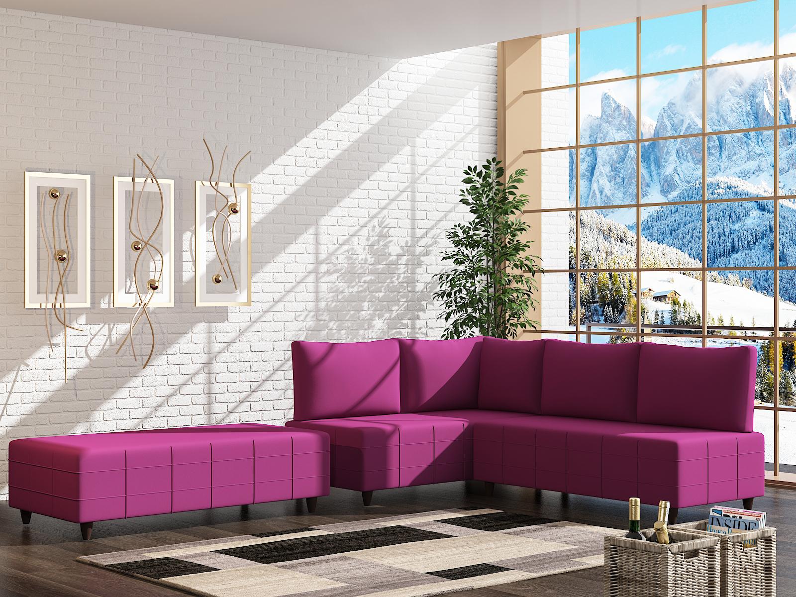Oznur Corner Sofa Set + Pouf