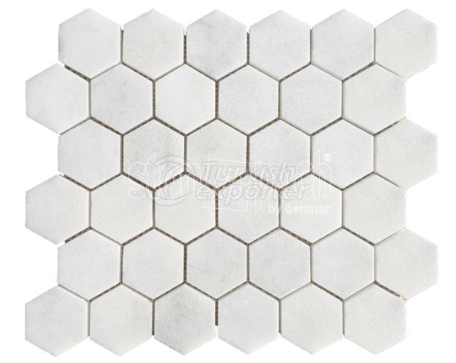 "2"" Hexagon Carrara Polished Mosaic"