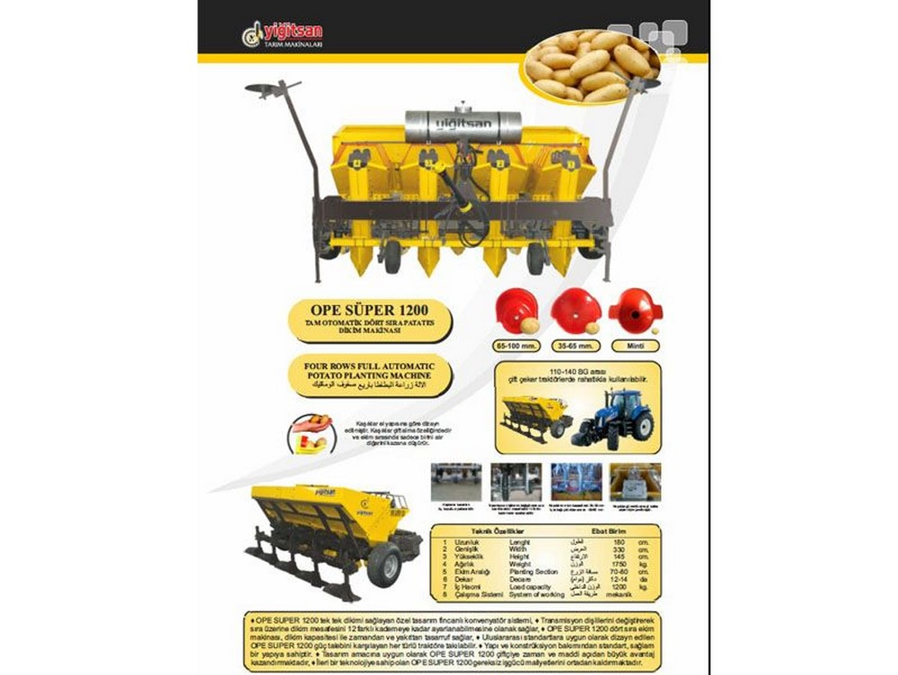 Four Row Full Automatic Potato Plnt. Mac.