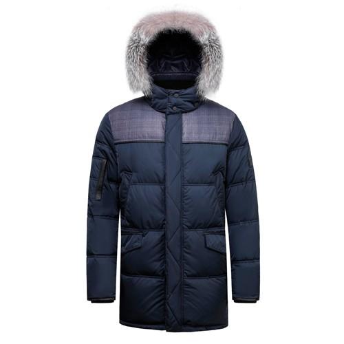 Men Duck Down Long Winter Coat with Blue Fox Fur on Hood