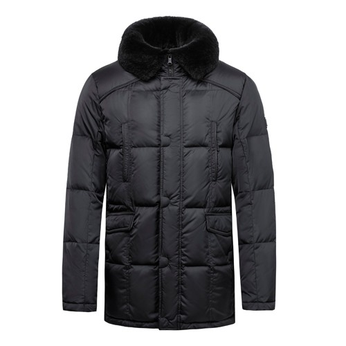 Men Warm Down Coat with Real Fur on Collar