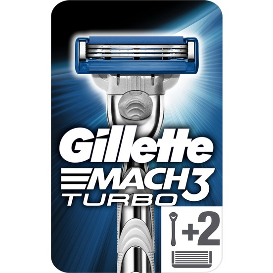 gillete mach3 turbo men's razor 1handle +2 refill