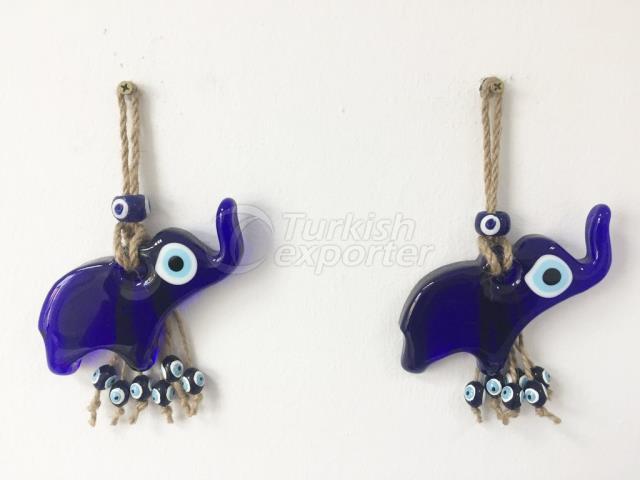 Handmade Elephant Blue Lucky Eye Wall Charm, Glass Evil Eye Wall Hanging Charm, Home Gift Amulet