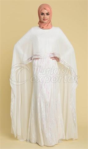Vestido de noche 17Y1018 Crudo