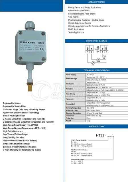 HT23 الرطوبة النسبية ودرجة الحرارة الارسال