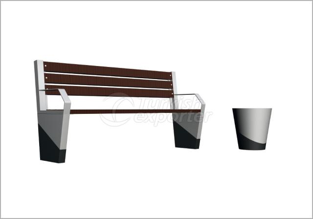 Benches and Trash Cans BN-001