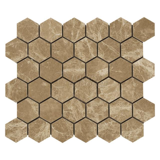 Light Emperador - Hexagon Mosaic 12x12