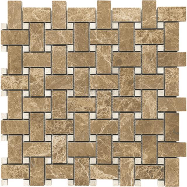 Light Emperador - Basketweave Mosaic 12x12