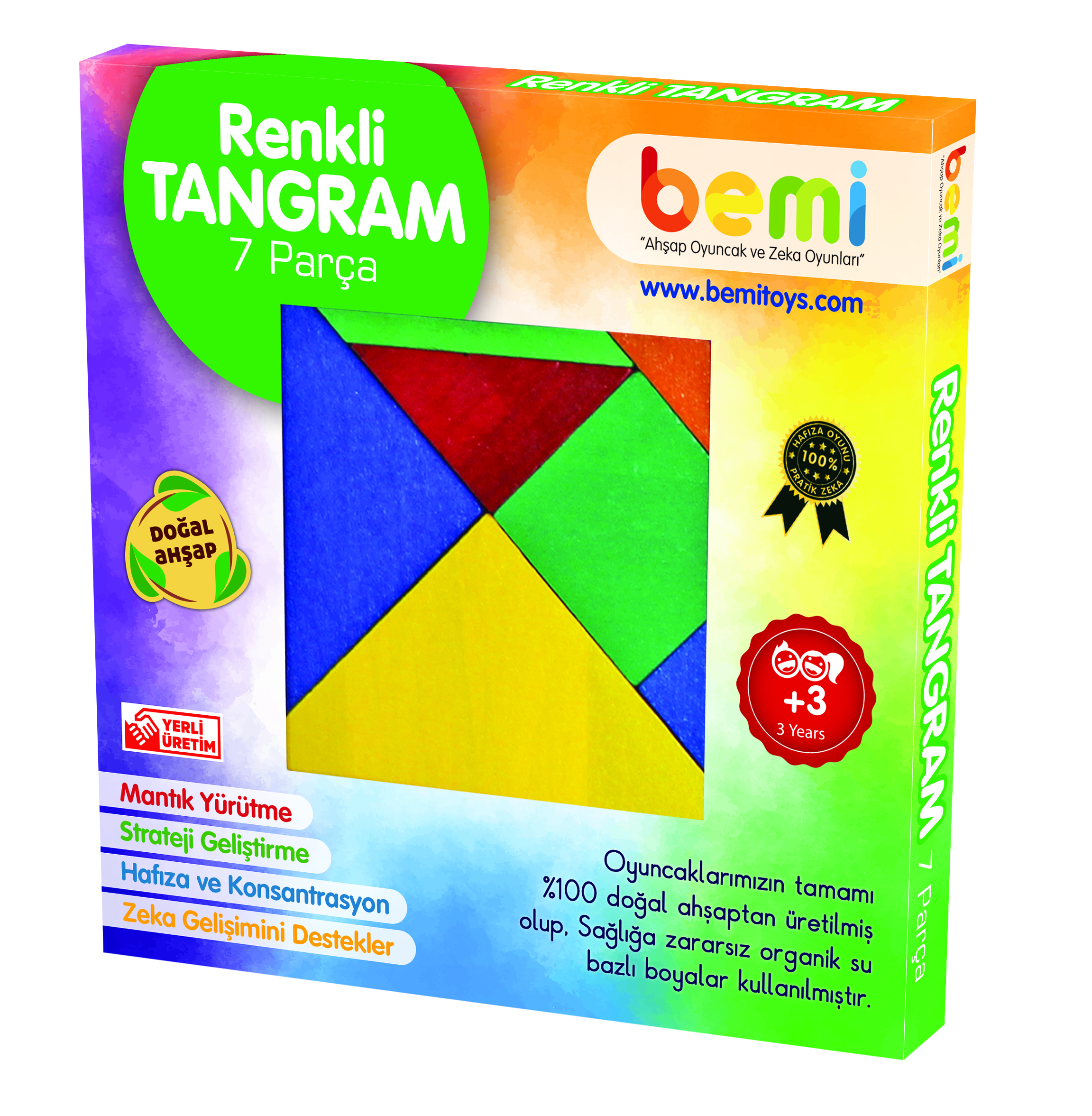 Colored Tangram 7 pieces Wooden