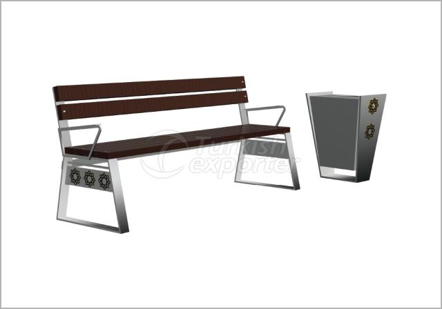 Benches and Trash Cans BN-004