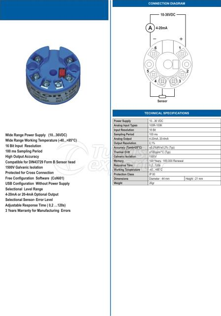 LT06 2-Telli Programlanabilir Seviye Transmitteri